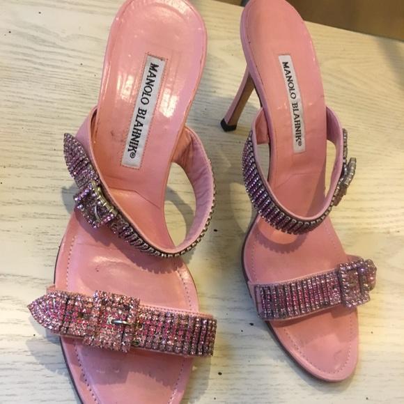 ac72abbf5edc8 Bubble gum pink and rhinestone slide sandal heels!  M 5b3af2678ad2f980c47ca353